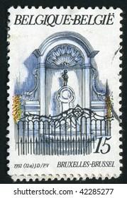 BELGIUM - CIRCA 1992: Manneken Pis Fountain,  Brussels, circa 1992.
