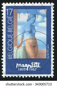 BELGIUM - CIRCA 1998: stamp printed by Belgium, shows Black magic, by Rene Magritte, circa 1998