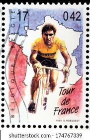 BELGIUM - CIRCA 1999: a stamp printed by BELGIUM shows cyclist participant of annual multiple stage bicycle race Tour de France, circa 1999