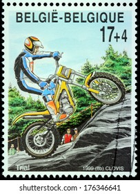 BELGIUM - CIRCA 1999: A stamp printed by BELGIUM shows Motorcycle Trials, circa 1999