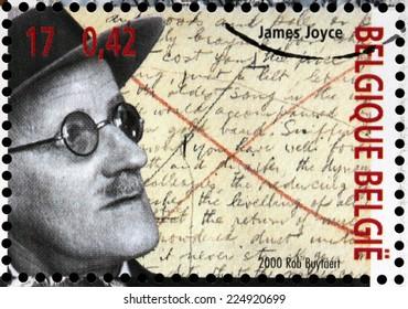 BELGIUM - CIRCA 2000: A stamp printed by BELGIUM shows image portrait of famous Irish novelist and poet  James Augustine Aloysius Joyce, circa 2000.