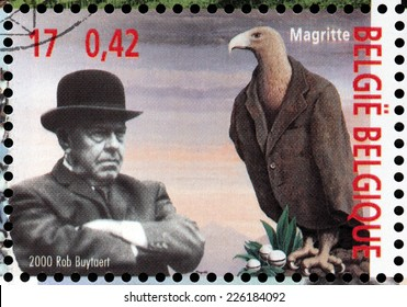 BELGIUM - CIRCA 2000: a stamp printed by BELGIUM shows image portrait of famous Belgian surrealist artist Rene Francois Ghislain Magritte, circa 2000.