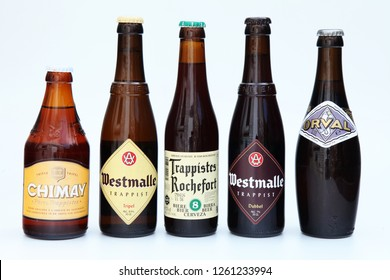 Belgium, circa 2011 - editorial image of Belgian Trappist beer bottles with brands like Chimay, Westmalle, Rochefort and Orval