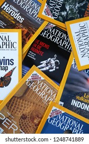 Belgium, circa 2011 - illustrative editorial image of a stack of National Geographic magazines