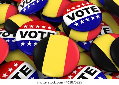 Belgium Elections Concept - Belgian Flag and Vote Badges 3D Illustration