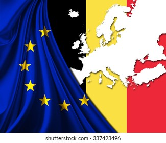 belgium and european union flag with europe map background