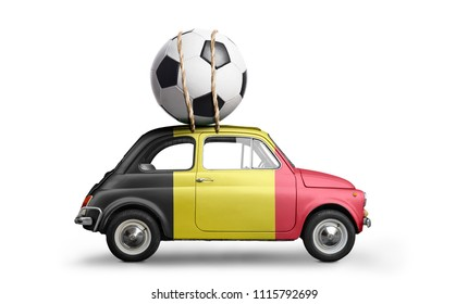 Belgium flag on car delivering soccer or football ball isolated on white background