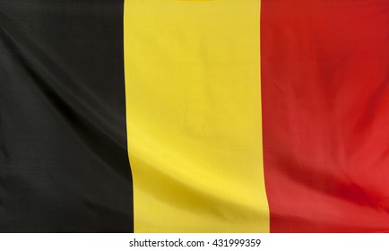 Belgium Flag real fabric seamless close up