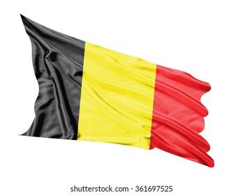 Belgium flag waving  on white  background.