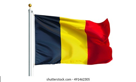 Belgium flag waving on white background, close up, isolated with clipping path mask alpha channel transparency