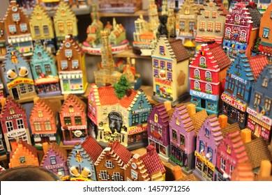 BELGIUM, Gand. Traditional ceramics souvenir: toys small houses in the souvenir shop in Gand