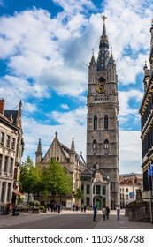 BELGIUM, GHENT - MAY 25: View of The Belfry of Ghent, the tallest belfry in Belgium on May 25, 2015