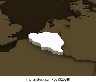 belgium map 3D illustration
