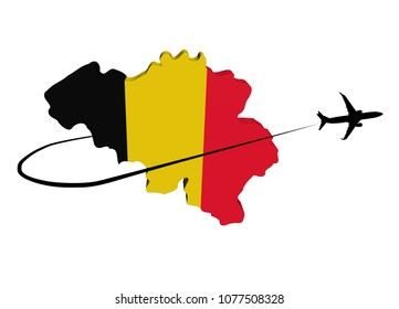 Belgium map flag with plane silhouette and swoosh 3d illustration