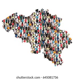 belgium map multicultural group of people integration immigration diversity isolated
