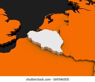 belgium map orange background 3D illustration