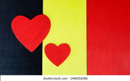 Belgium - national flag with love of Belguim's culture, Brussels, and tourism. Space for design / text / copy.