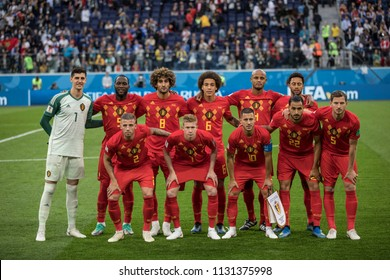 Belgium national football team before a 1/2 final football match at World Cup 2018 France-Belgium. Saint-Petersburg Stadium, 10th of July, 2018.