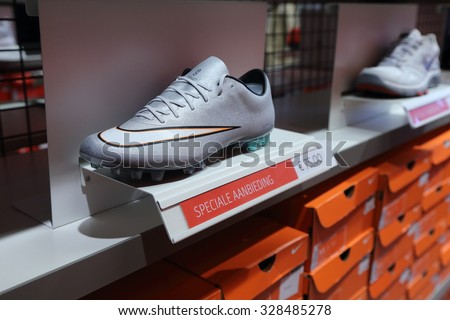 5ede96a67a0f8 BELGIUM - OCTOBER 17  Background of Nike shoes boxes at Maasmechelen  Village outlet on October