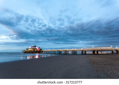 The Belgium Pier illuminated at night. City of Blankenberge, West Flanders, Belgium