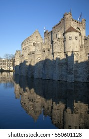 Belgium, province capital city of Ghent, canal reflextions