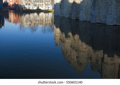 Belgium, province capital city of Ghent, canal reflextion
