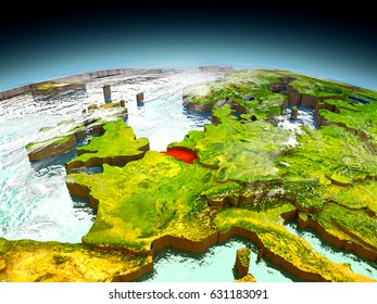 Belgium in red on model of planet Earth as seen from orbit. 3D illustration with detailed planet surface. Elements of this image furnished by NASA.