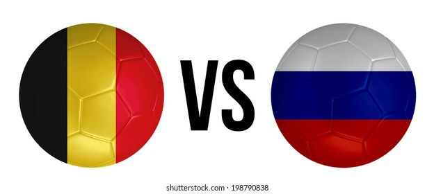 Belgium VS Russia soccer ball concept isolated on white background