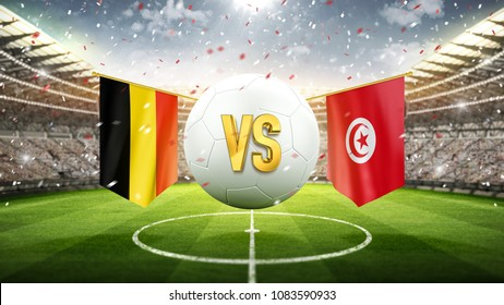 Belgium vs Tunisia. Soccer concept. White soccer ball with the flag in the stadium, 2018. 3d render