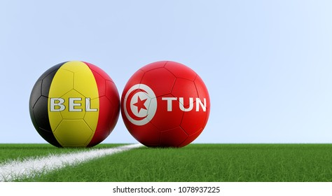 Belgium Vs Tunisia Soccer Match Soccer Balls In Belgiums And Tunisias National Colors On