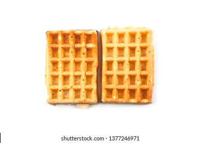 Belgium waffers isolated on white background. Top view of two fresh baked wafers.