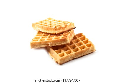 Belgium waffers isolated on white background. Ttree fresh baked wafers.