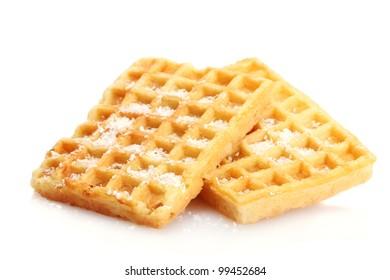 belgium waffles isolated on white