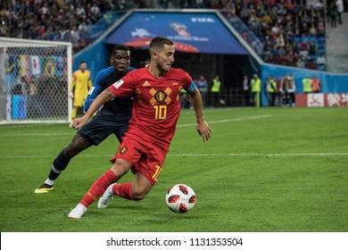 Belgium's Eden Hazard during 1/2 final football match at World Cup 2018 France-Belgium. Saint-Petersburg Stadium, 10th of July, 2018.