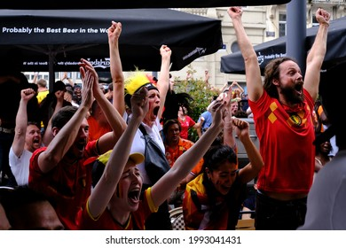 Belgium's fans at central Brussels as they watch the UEFA Euro 2020  match between Denmark and Belgium on a giant screen in Brussels, Belgium on June 17, 2021.