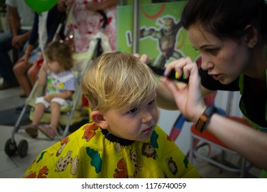 Super Kid Getting Hair Cut Images Stock Photos Vectors Shutterstock Natural Hairstyles Runnerswayorg
