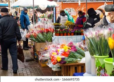 Belgorod, Russia, 07.03.2020, pre-holiday street flower market on city street