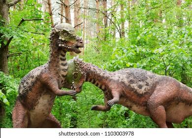 Belgorod, Russia, 20 may 2018 - Dinosaur Park, model battle of two dinosaurs Pachycephalosaurus