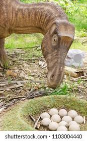 Belgorod, Russia, 20 may 2018 - Dinosaur Park, dinosaur model Maiasaura with a clutch of eggs