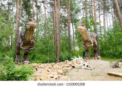 Belgorod, Russia, 20 may 2018 - Dinosaur Park, too dinosaurs model Allosaurus