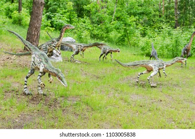 Belgorod, Russia, 20 may 2018 - Dinosaur Park, a pack of dinosaurs Coelophysis, models, reconstruction