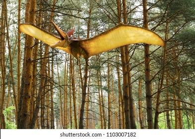 Belgorod, Russia, 20 may 2018 - Dinosaur Park, dinosaur model Pteranodon in flight
