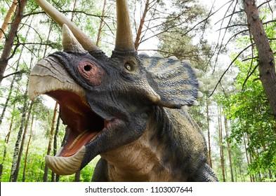 Belgorod, Russia, 20 may 2018 - Dinosaur Park, dinosaur model Triceratops