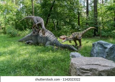 Belgorod, Russia, 25 July 2018 - Dinosaur Park, a dinopark.