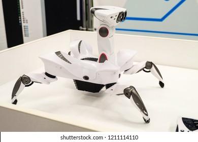 Belgorod, Russia - April 10, 2018: Robotics exhibition. Wowwee Roboquad. Toy-like robot-crab arthropod with unique movements.