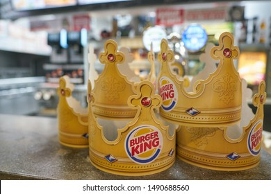 BELGOROD, RUSSIA - CIRCA DECEMBER, 2018: close up shot of Burger King paper crowns seen at a shopping center in Belgorod.