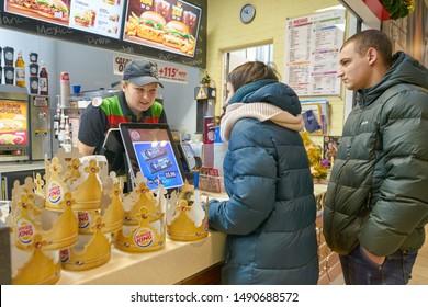 BELGOROD, RUSSIA - CIRCA DECEMBER, 2018: counter service at Burger King at a shopping center in Belgorod.