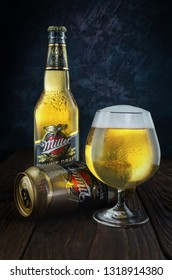BELGOROD, RUSSIA - FEBRUARY 20, 2019: Miller Genuine Draft is the original cold filtered packaged draft beer, a product of the Miller Brewing
