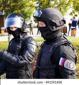 Belgorod, Russia - September 17, 2016: National Guard Russian