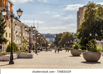 Belgorod, Russia - September 29, 2017: Street of the fiftieth anniversary of the Belgorod region. Pedestrian street in the old residential center of the city. Urban environment.